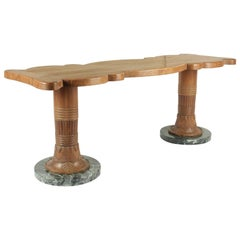 Coffee Table from the 1930s in Wood and Marble