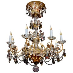 Chandelier, 1940, 12 Lights, Crystal, Highly Decorative