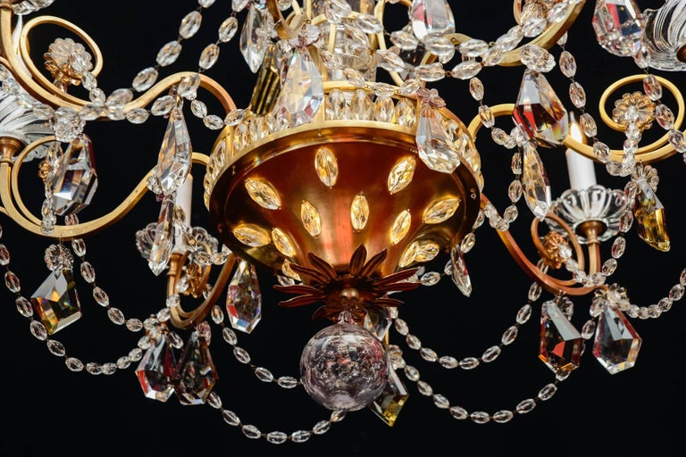 Mid-Century Modern Chandelier, 1940, 12 Lights, Crystal, Highly Decorative For Sale