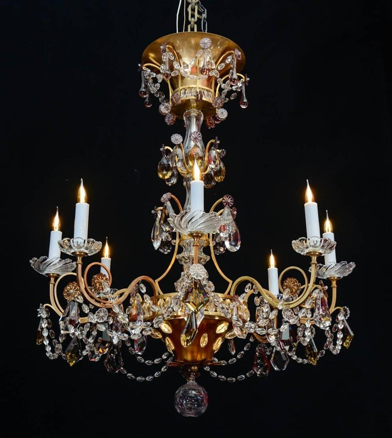 French Chandelier, 1940, 12 Lights, Crystal, Highly Decorative For Sale