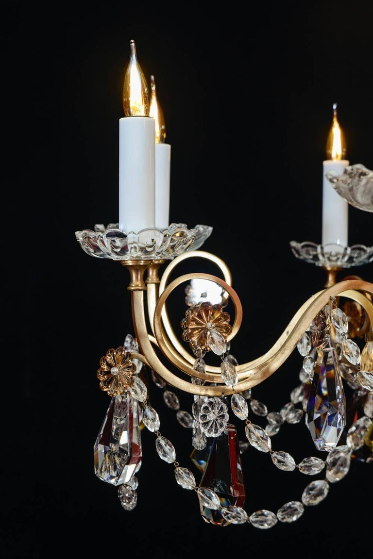 Chandelier, 1940, 12 Lights, Crystal, Highly Decorative In Good Condition For Sale In Saint-Ouen, FR