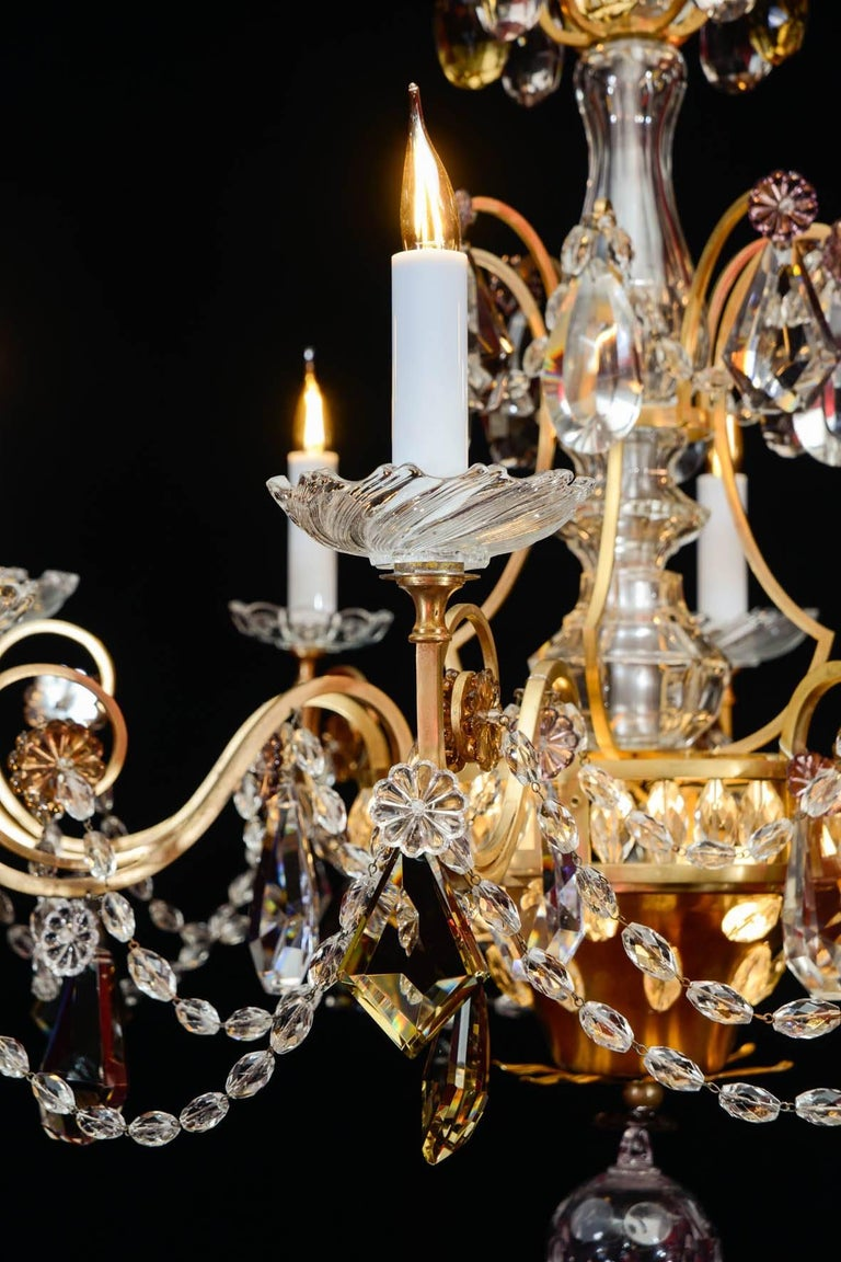 Mid-20th Century Chandelier, 1940, 12 Lights, Crystal, Highly Decorative For Sale