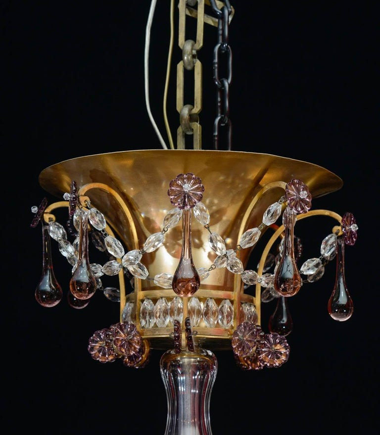 Brass Chandelier, 1940, 12 Lights, Crystal, Highly Decorative For Sale