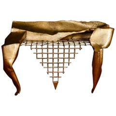 Console in Wrought Iron with Gold Leaf by Artist Jean-Jacques Argueyrolles