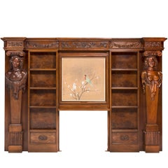 Woodwork, Headboard or Fireplace Forming Library, Surrounded by Caryatids