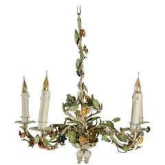 Chandelier Painted, Five Branched, from the 1950s in a Floral Motif