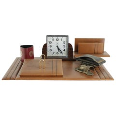 Complete 1940s Desk Set Including Clock
