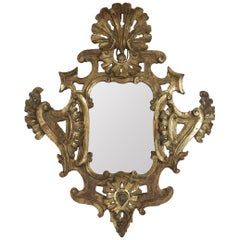 Louis XV Mirror in Hand Carved Gold Gilded Wood with Mercury Mirror