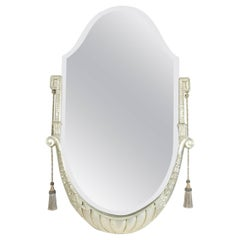 Art Deco Mirror in Silver Gilded Wood, circa 1930 with Bezelled Mercury Mirror
