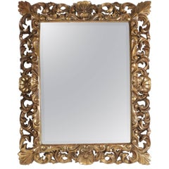 Napoleon III Mirror in Hand Carved Gold Gilded Wood with Beveled Mirror