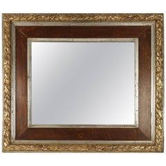 19th Century Mirror en Wood and Gesso in Silver with Original Mercury Mirror