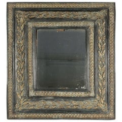 19th Century Mirror with Its Original Mercury Glass in Ebonized Wood with Brass