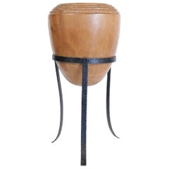 Large Mid-Century Modern Decorative Pot in Solid Wood in the Form of an Olive
