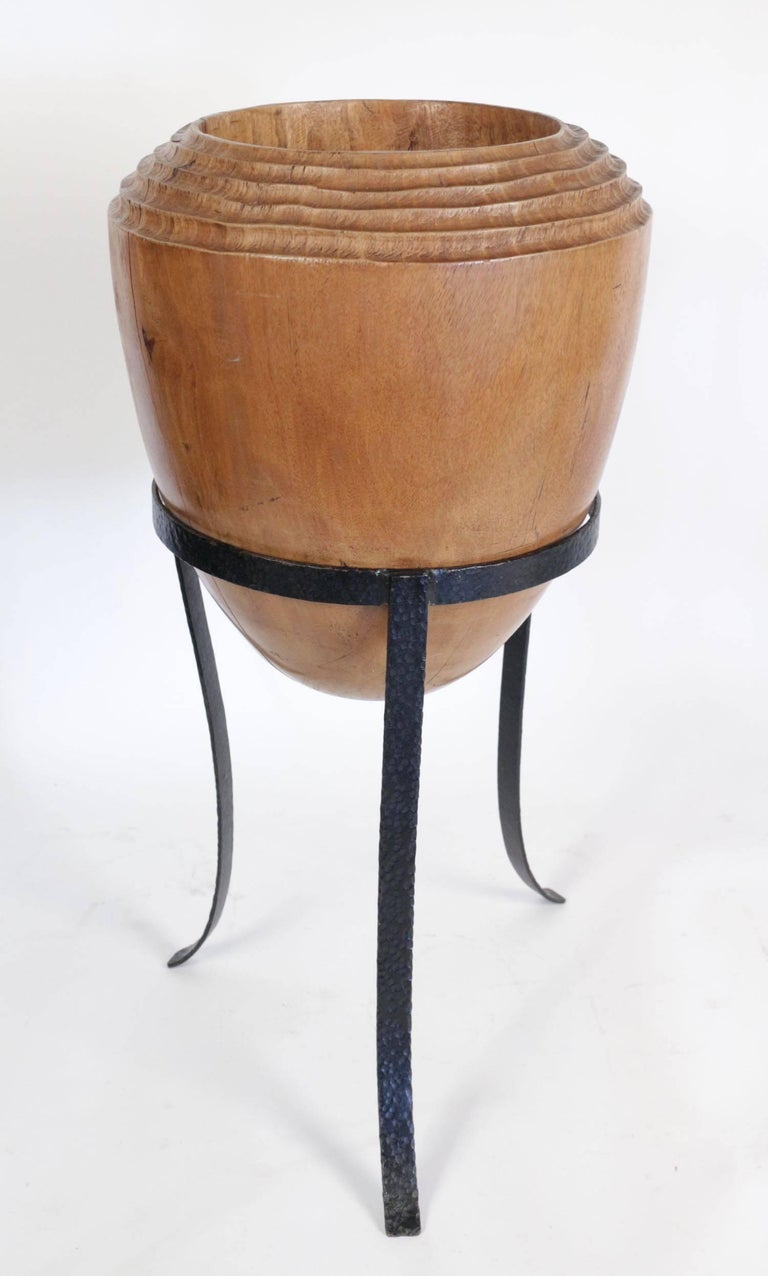 Large Mid Century Modern Decorative Pot In Solid Wood The Form Of An Olive