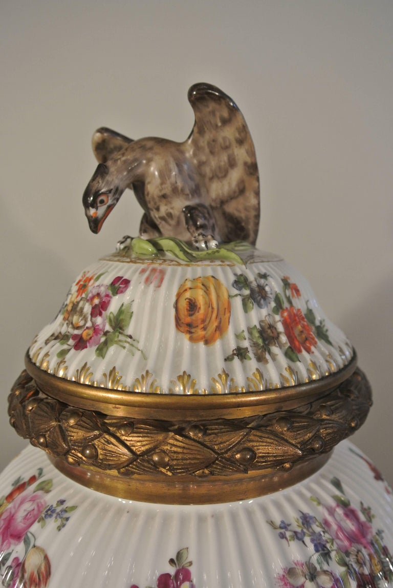French Covered Porcelain Bronze on Gilded Bronze Base from the 19th Century For Sale