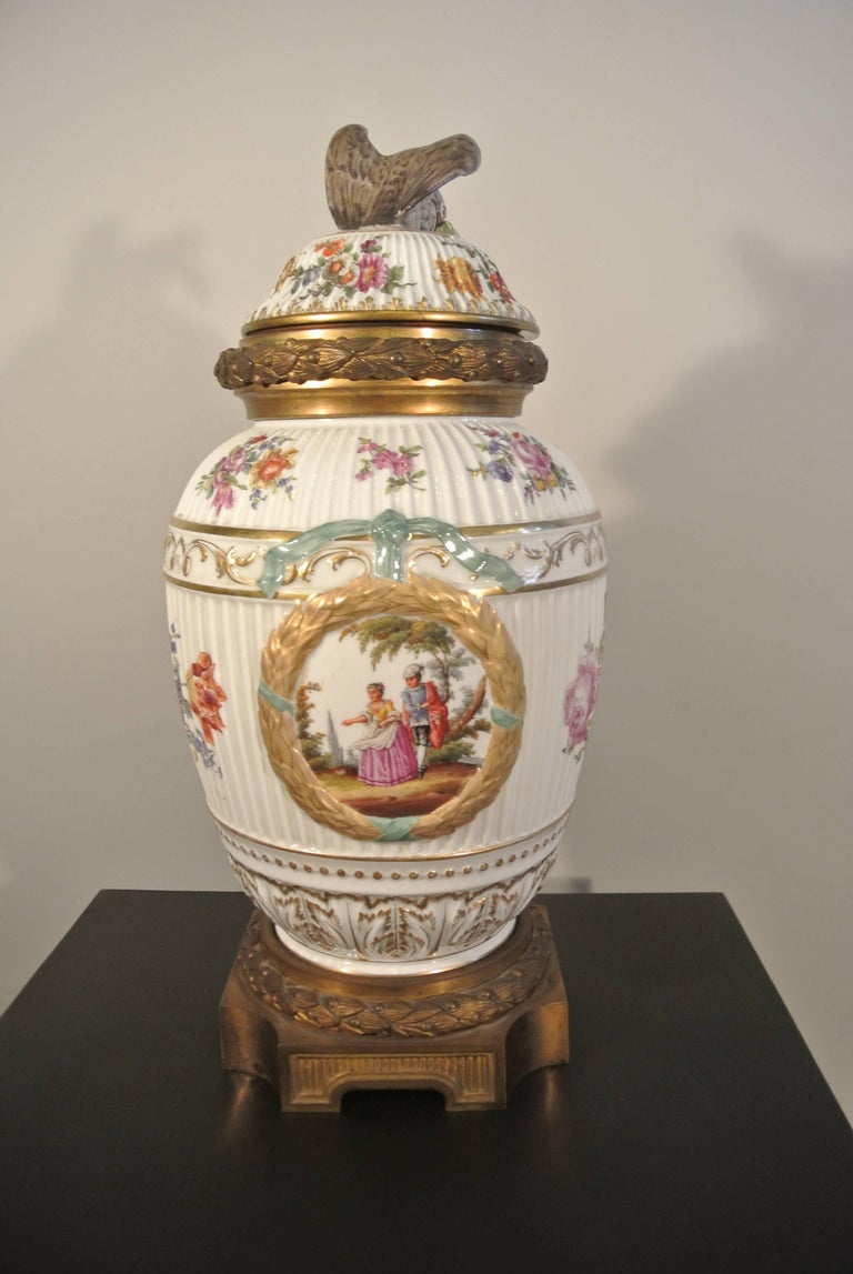 Late 19th Century Covered Porcelain Bronze on Gilded Bronze Base from the 19th Century For Sale