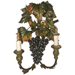 Unusual 'Grapes' Sconce Painted with Metal and Wood Paint, circa 1960