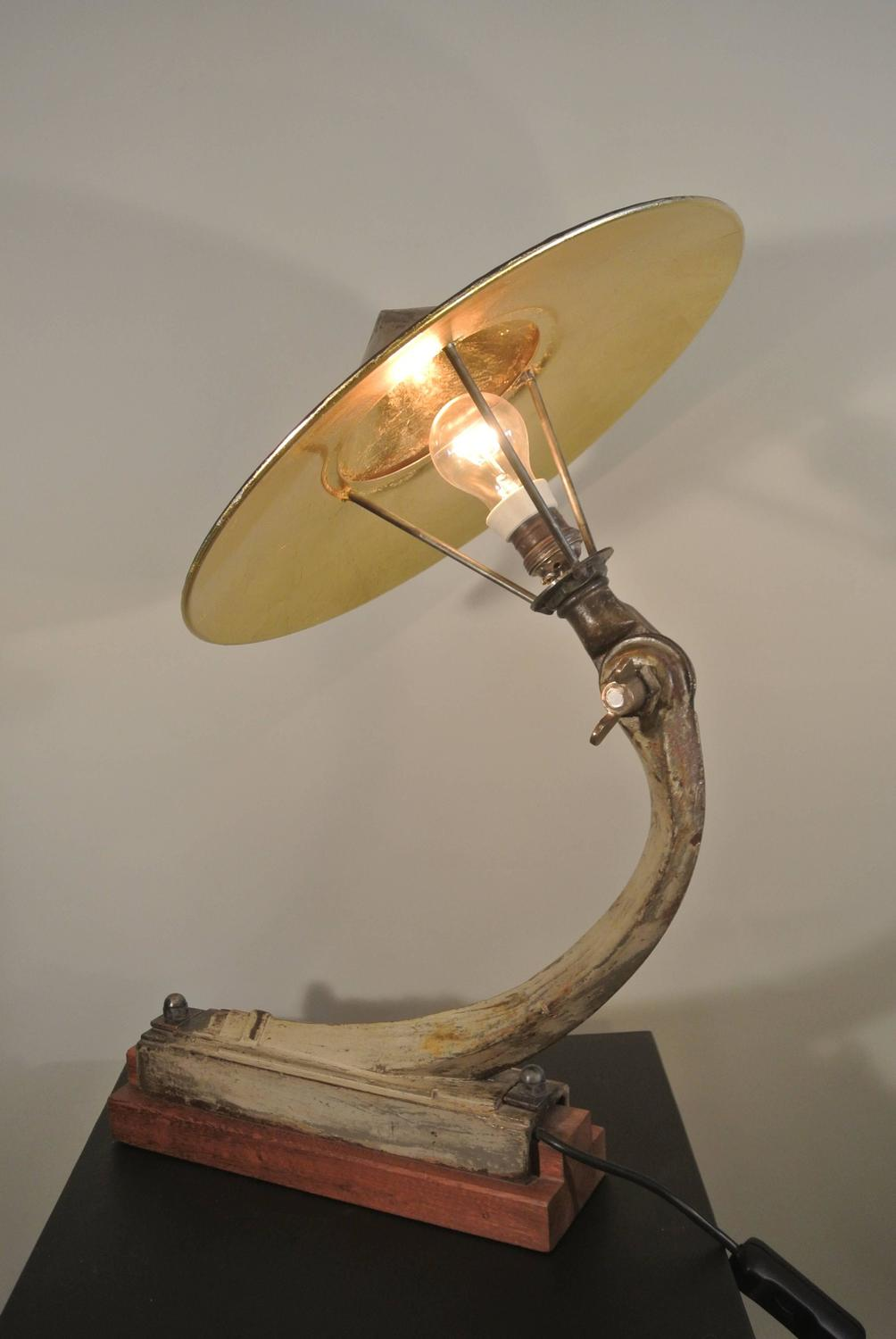 adjustable desk lamp in patinated copper and painted in gold on a wooden base for sale at 1stdibs. Black Bedroom Furniture Sets. Home Design Ideas