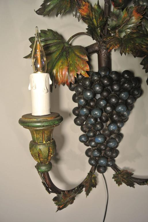 Unusual ?Grapes? Sconce Painted with Metal and Wood Paint, circa 1960 For Sale at 1stdibs