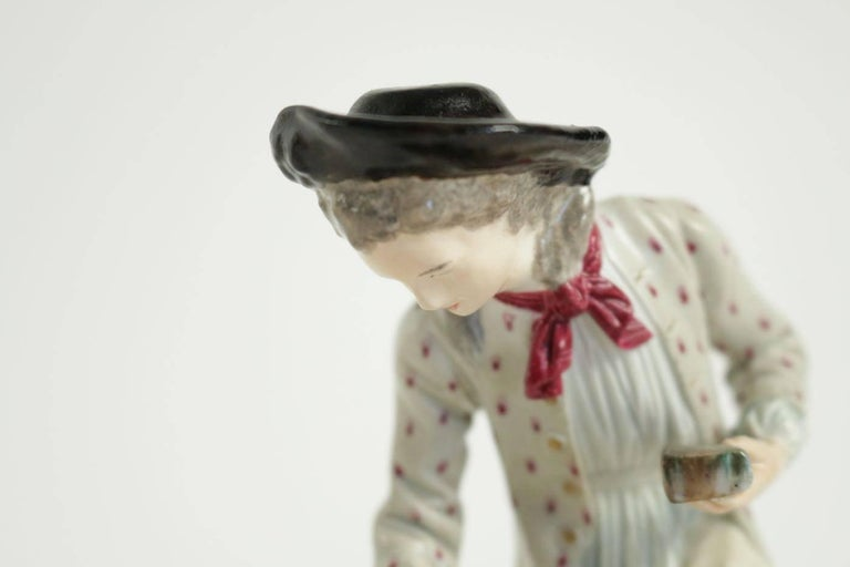 Romantic 19th Century Figurine in Porcelain For Sale
