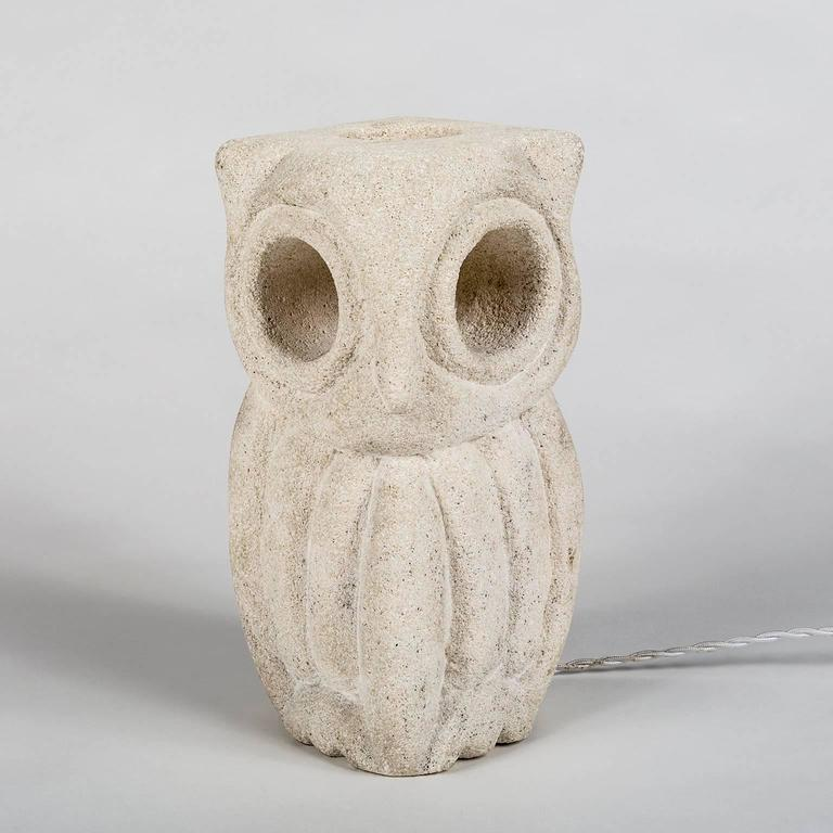 Lantern Owl Lamp Sculpted in Limestone and Signed by Albert Tormos, Electrified 2