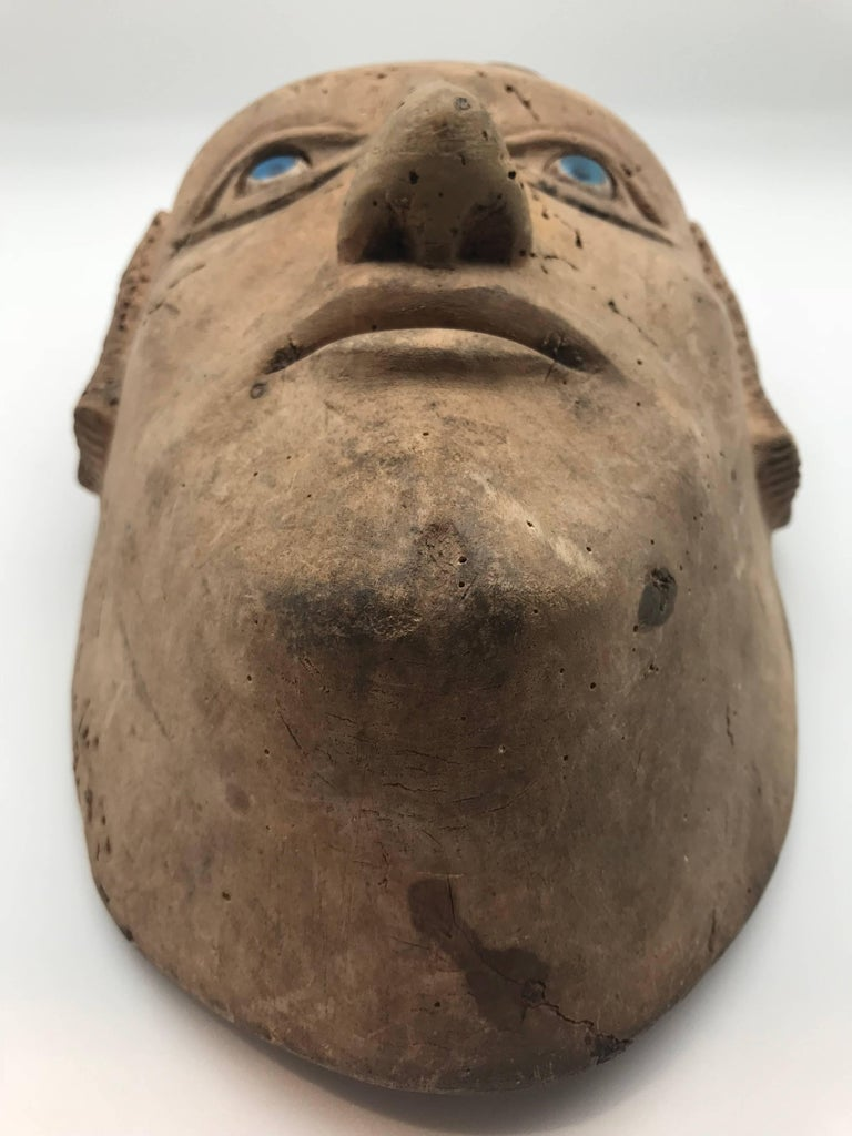 18th-19th Century Carved Slave's Mask Depicting of His/Her Master In Good Condition For Sale In New York, NY