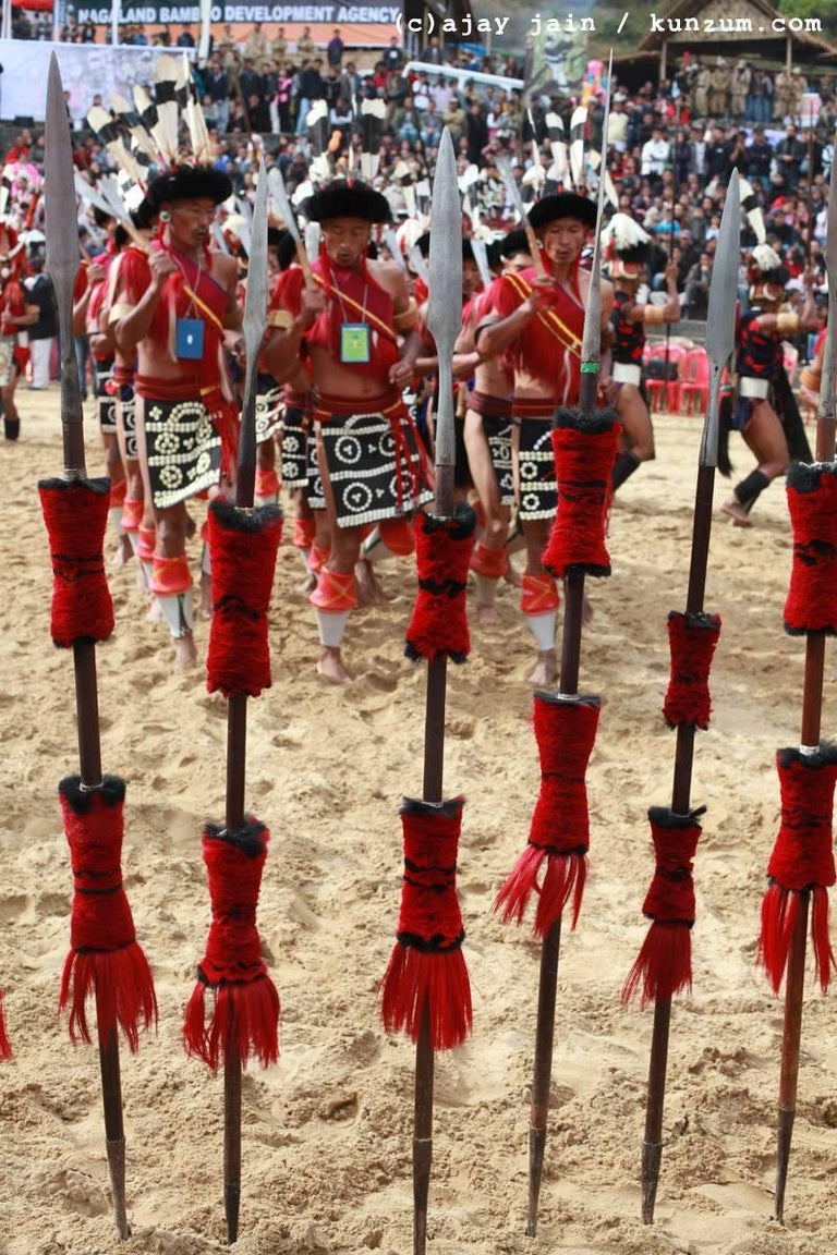 Contemporary Mounted Ceremonial Nagaland Spear or Staff For Sale