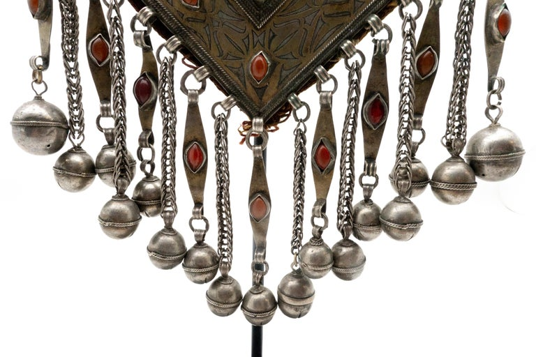 Early 20th Century Turkmen Silver and Carnelian Pendant For Sale
