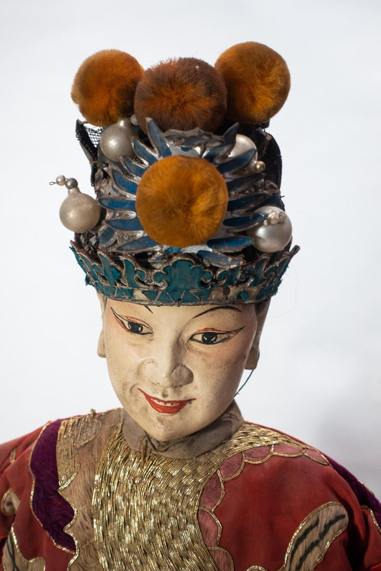 Ming Vintage Chinese Opera Theatre Marionette, Red Silk Robe, Orange Pom Poms For Sale