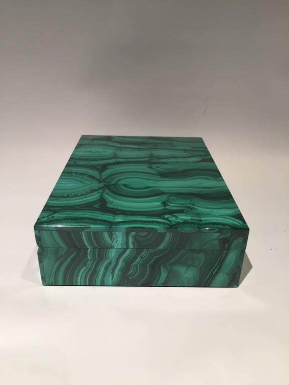 Neoclassical Malachite Box with Hinged Lid For Sale