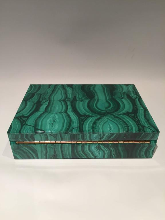 Indian Malachite Box with Hinged Lid For Sale