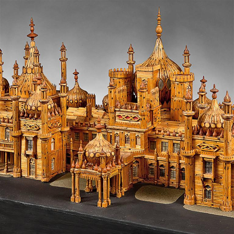 Anglo Raj Royal Brighton Pavilion Matchstick Architectural Model by Bernard Martell For Sale