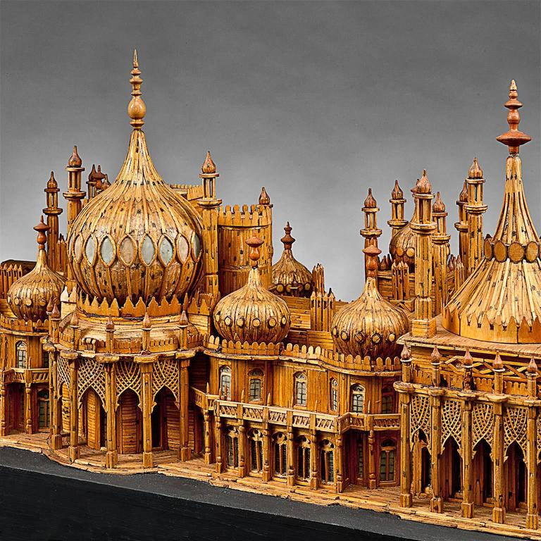 English Royal Brighton Pavilion Matchstick Architectural Model by Bernard Martell For Sale