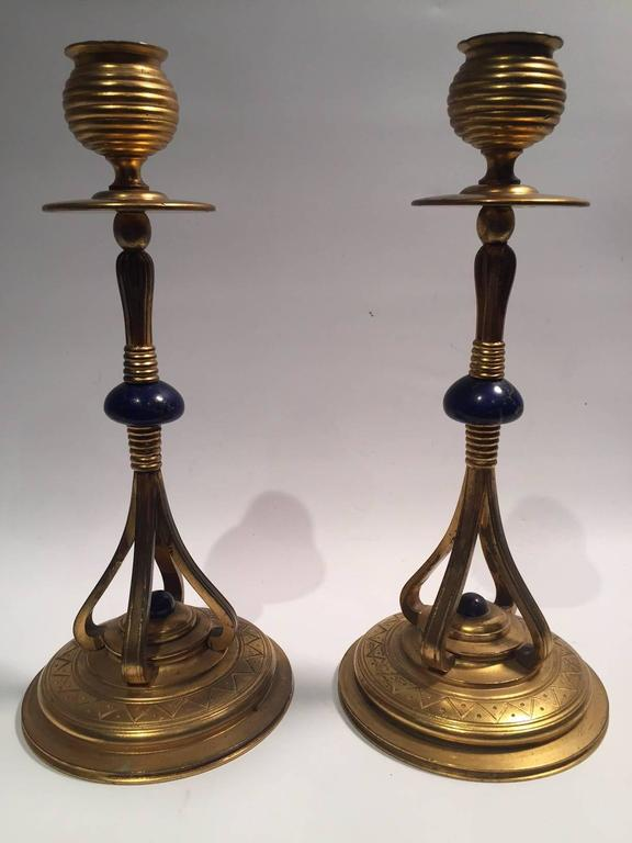 1890s Pair of Rare Art Nouveau French Bronze Gilded and Lapis Candlesticks For Sale 4
