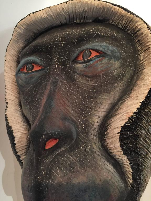 Monkey Mask Ceramic Sculpture by Ardmore from South Africa 2