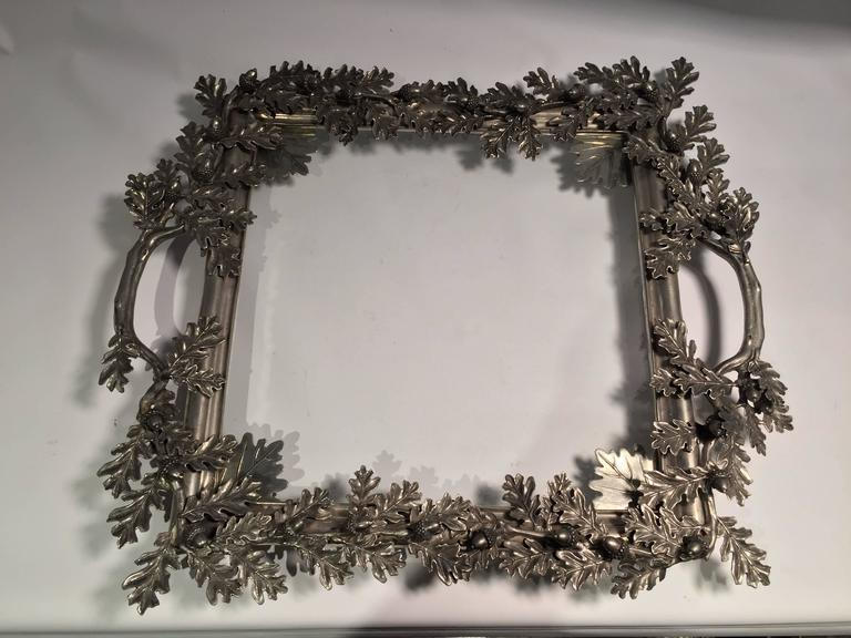 Early 20th Century Acorn and Oak Leaf Motif Metal Serving Tray with Inset Glass 2