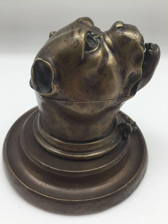 French 19th Century Bronze Growling Dog with Collar and Chain Inkwell For Sale