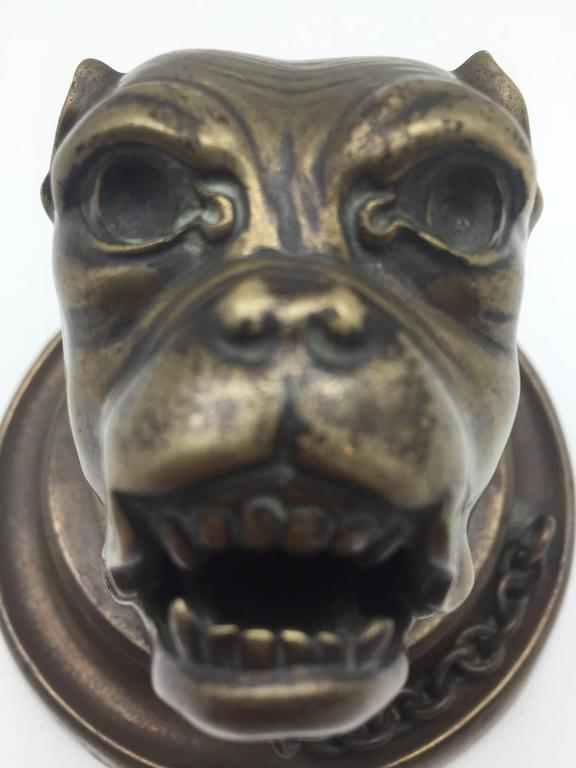 19th Century Bronze Growling Dog with Collar and Chain Inkwell For Sale 2