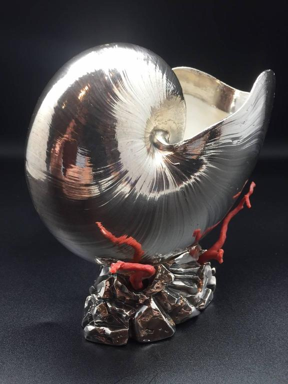 Italian Silver Coated Nautilus Shell on a Naturalistic Base with Red Coral 3