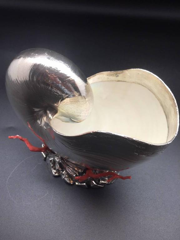 Italian Silver Coated Nautilus Shell on a Naturalistic Base with Red Coral 7