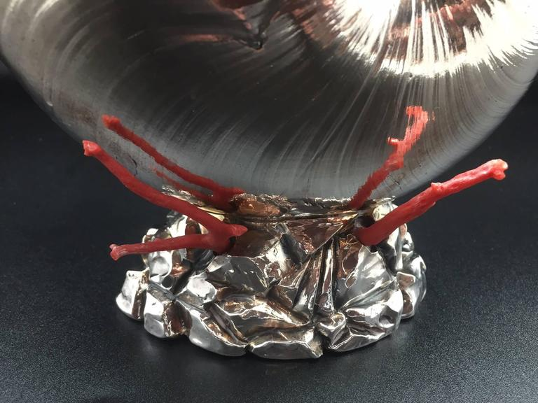 Italian Silver Coated Nautilus Shell on a Naturalistic Base with Red Coral 4
