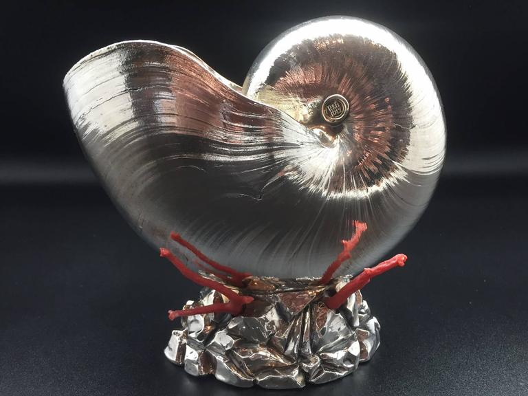 Italian Silver Coated Nautilus Shell on a Naturalistic Base with Red Coral 10