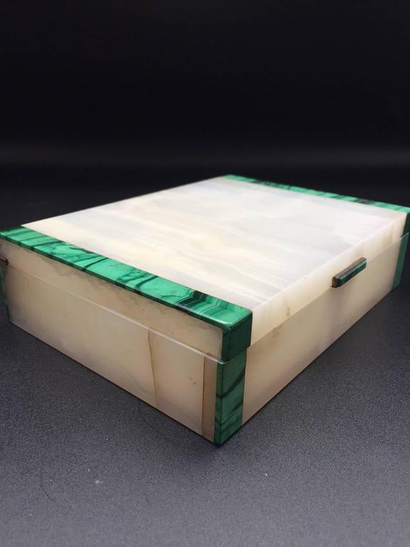 Malachite & Onyx Silver Hinged Box, English 1941 Made by Henry Griffith & Sons 2