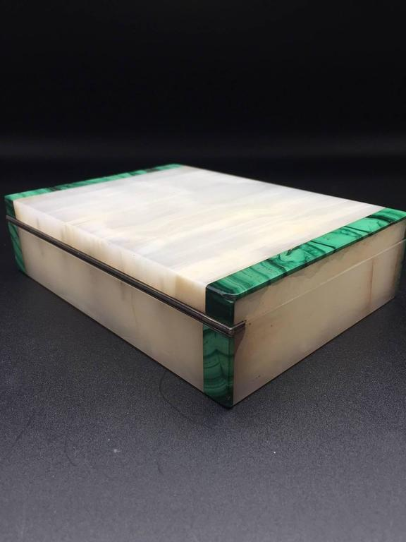 Malachite & Onyx Silver Hinged Box, English 1941 Made by Henry Griffith & Sons 3