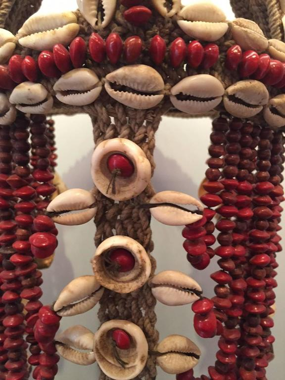 Headdress from Papua New Guinea Made from Cowrie Shells and Red Seeds, Mounted  4