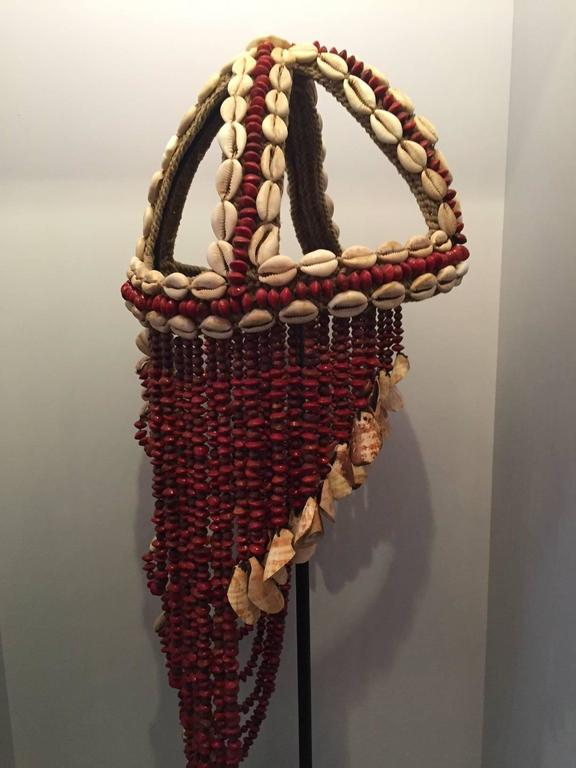 Headdress from Papua New Guinea Made from Cowrie Shells and Red Seeds, Mounted  6