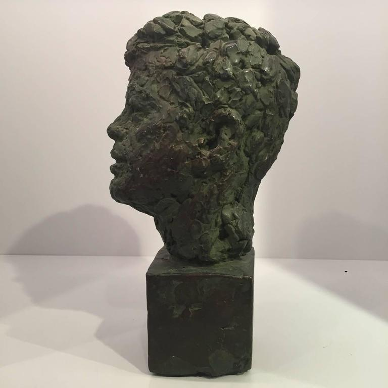 American Bust of John Fitzgerald Kennedy of Bronze Patinated Plaster by Robert Berks For Sale