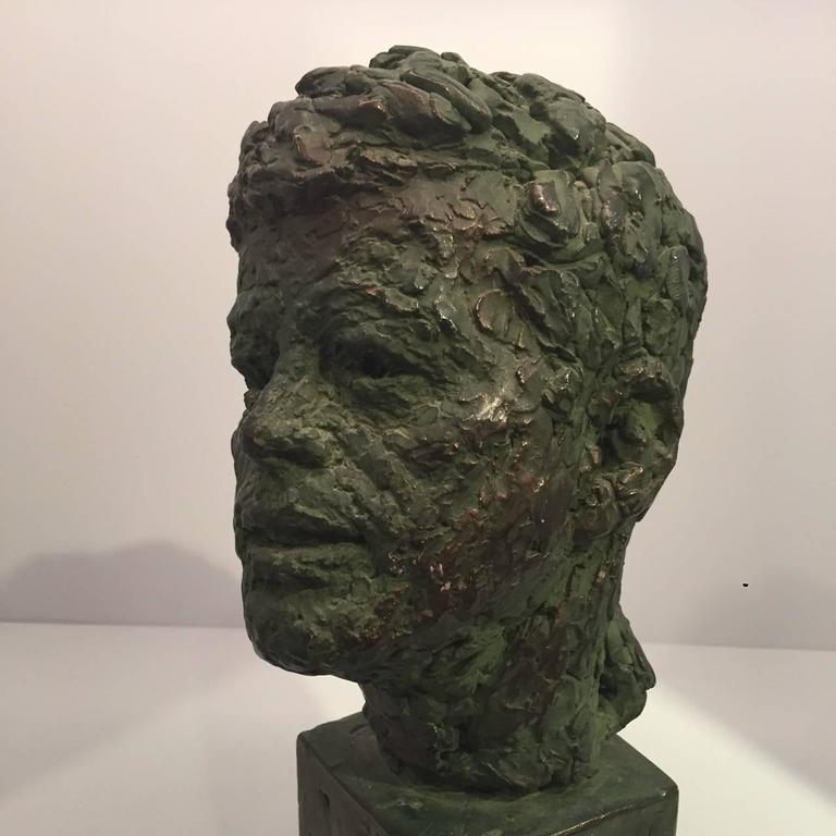 Bust of John Fitzgerald Kennedy of Bronze Patinated Plaster by Robert Berks In Good Condition For Sale In New York, NY