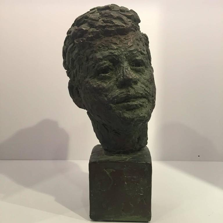 Bust of John Fitzgerald Kennedy of Bronze Patinated Plaster by Robert Berks For Sale 1