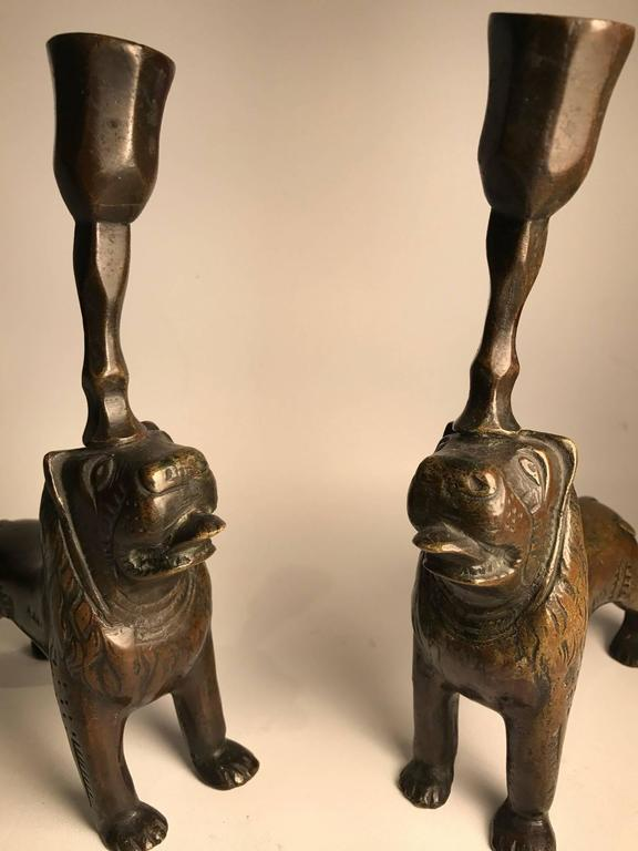 Continental 19th Century Bronze Lion Medieval Style Stylobate Candlesticks 10